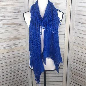 Blue Fringe Crochet Scarf Shawl